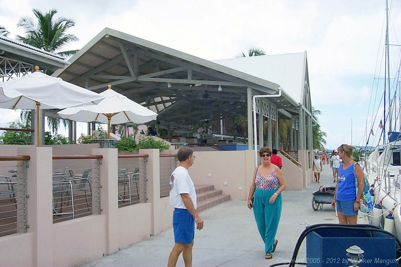 Mike, Sandy, and Nancy in front of new Moorings pavilion, ready to load