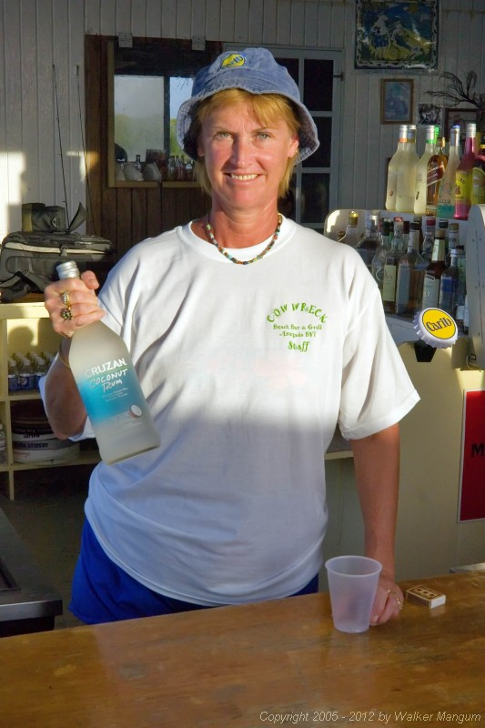 Nancy at work, wearing her Cow Wreck Beach Staff shirt.