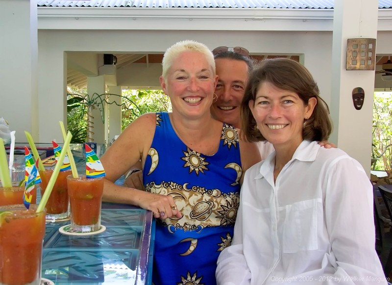 Sunday brunch at the Tamarind Club.  Cyndie (the owner) with Davide and Cele.