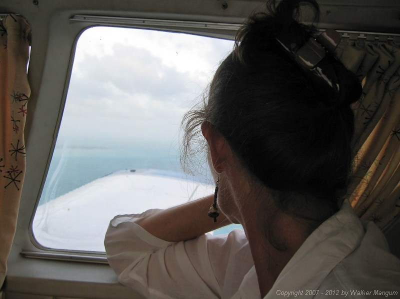Flying into Anegada on Island Birds. Cele enjoying the view.