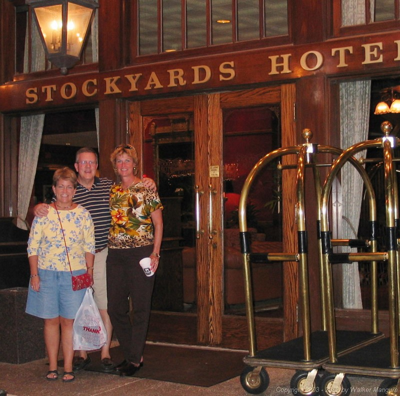 Linda, Bill, and Nancy in front of Stockyards Hotel.