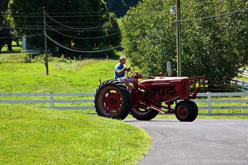 Taking the Farmall for a spin. The last time I drove a Farmall H was in 1960 - plowing my grandfather's soybean field.